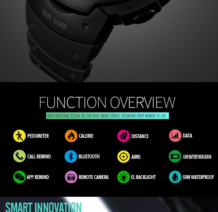 Men's Sport Smart Watch SKMEI Brand Fashion Pedometer Remote Camera Calorie Bluetooth Smartwatch Reminder Digital Wristwatches 10