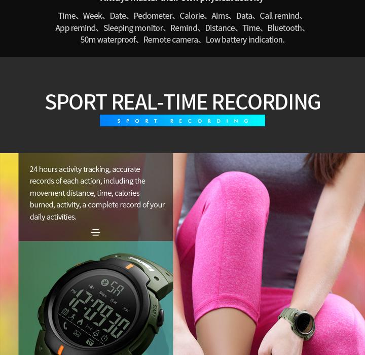 Men's Sport Smart Watch SKMEI Brand Fashion Pedometer Remote Camera Calorie Bluetooth Smartwatch Reminder Digital Wristwatches 8