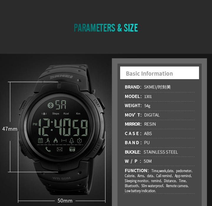 Men's Sport Smart Watch SKMEI Brand Fashion Pedometer Remote Camera Calorie Bluetooth Smartwatch Reminder Digital Wristwatches 6