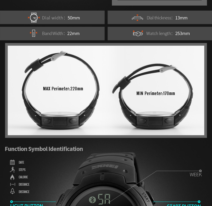 Men's Sport Smart Watch SKMEI Brand Fashion Pedometer Remote Camera Calorie Bluetooth Smartwatch Reminder Digital Wristwatches 5