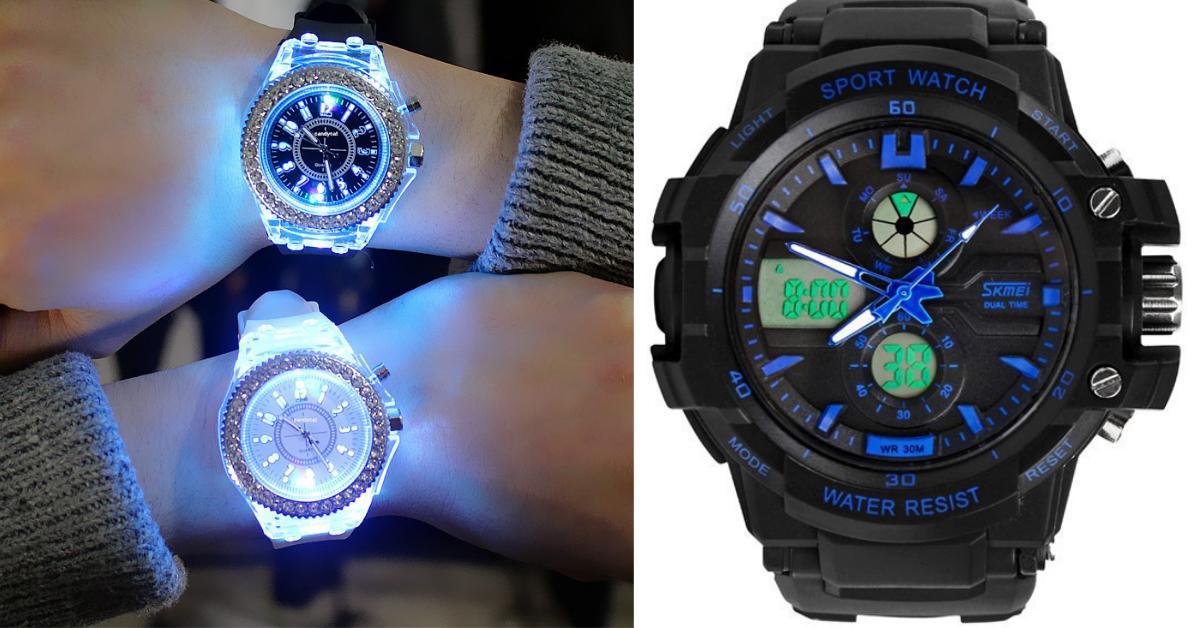 rhinestone watch combo BLUE